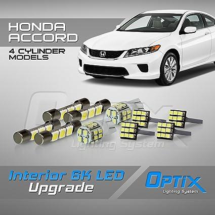 Amazon.com: Optix 10pc 2013 - 2017 Honda Accord 4 Cylinder LED Interior Light Package Replacement Set - White: Automotive