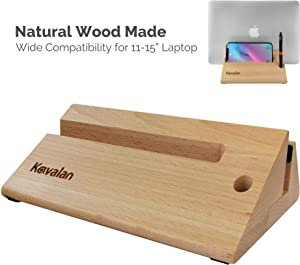 Kavalan Design Vertical Laptop Stand Dock, Wood Made Premium Desktop Stand Holder Organizer with Cellphone & Pen Holder, Eco-Friendly Space Saving Desktop Stand, Fits All Apple MacBook, HP, Dell