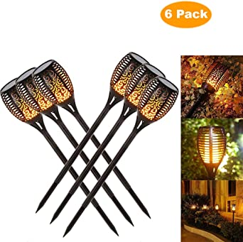 luces jardin solares exterior, luces decorativas, luz de la antorcha del LED, luz del camino del jardín, efecto de llama que oscilan realista, prenda impermeable IP65 (6 pack): Amazon.es: Iluminación
