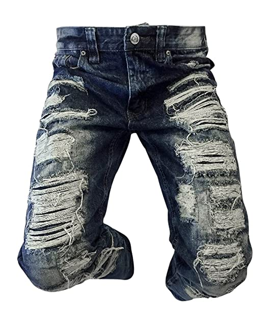 2b94cb17 Men's Victorious Jeans Slim Straight Biker Ripped Acid Wash Jeans Rips Dark  Blue (38x33)
