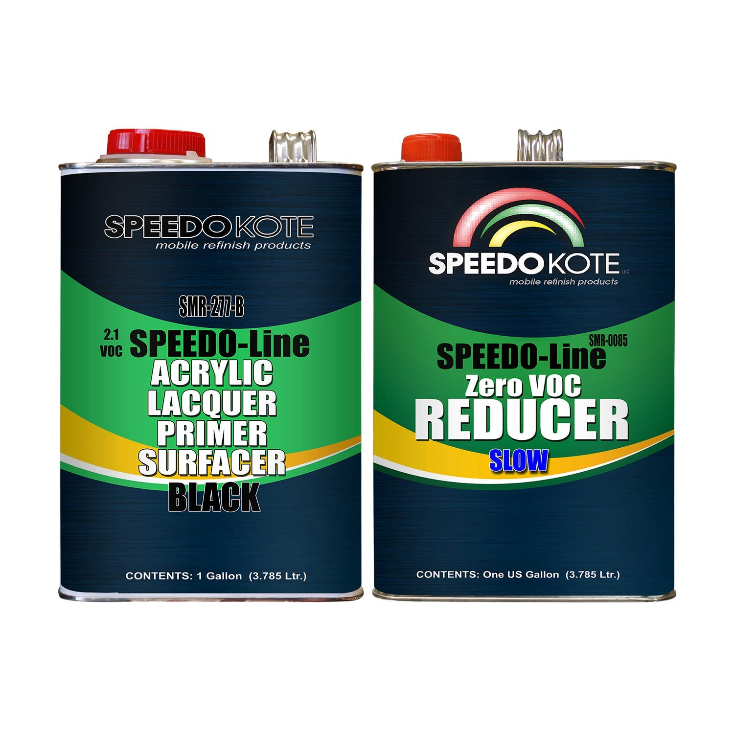 Speedokote 2.1 voc Acrylic Lacquer Primer Black 2 gal. kit Hot Temp Reducer SMR-277-B/0085