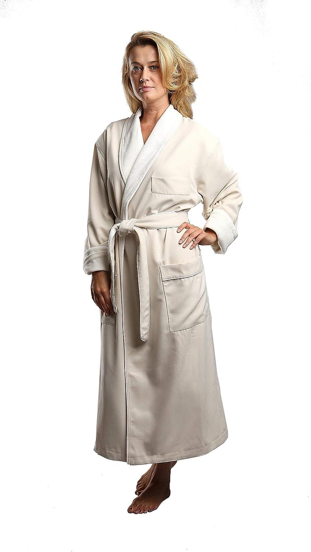 MONARCH Terry Lined Microfiber Hotel Robe - Luxury Spa Bathrobe Cypress