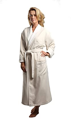 65f0cc9110 Terry Lined Microfiber Hotel Robe - Luxury Spa Bathrobe in Natural Small by  Monarch