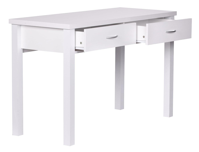 Schreibtisch weiß mit schubladen  Wohnling Schreibtisch Sam mit 2 Schubladen 120 cm weiß: Amazon.de ...