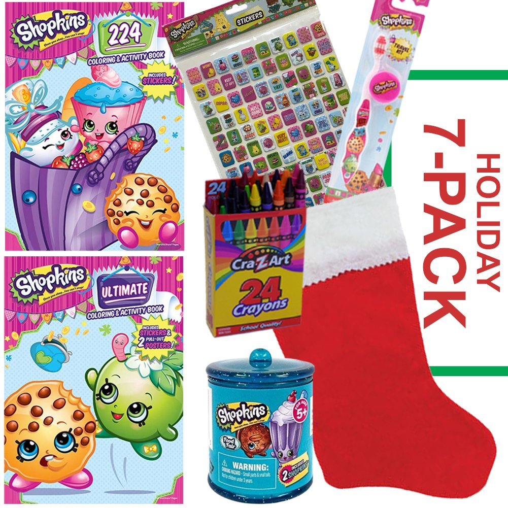 Shopkins Christmas Stocking - Includes Shopkins Coloring Book, Shopkins Activity Book, Shopkins Food Fair Canister Basket, Shopkins Toothbrush, 110 Shopkins Stickers, Crayons, and Christmas Stocking