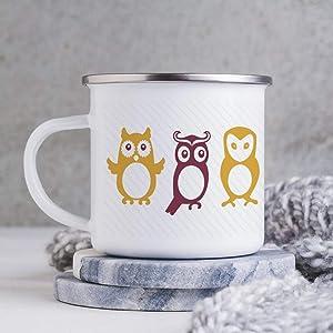 Cartoon-Cute-Owl-Pattern Enamel Camping Coffee Mugs Resusable & Portable Enamel Campfire Tin Mugs 10 oz Metal Enamel Drinking Mugs Cups Ideal for Home/Office/Travel/Camping