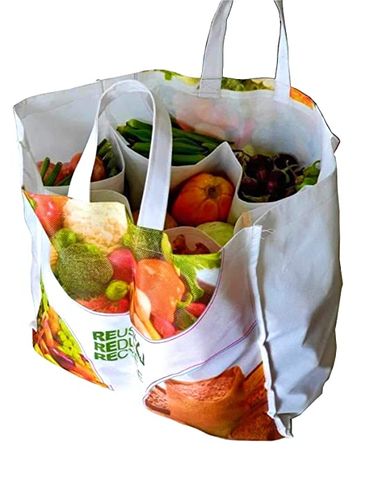 VITARA Organics Eco Reusable Vegetable Bag with 6 Pockets for Purchase Vegetables, Provision and More Shopping Bags   Baskets
