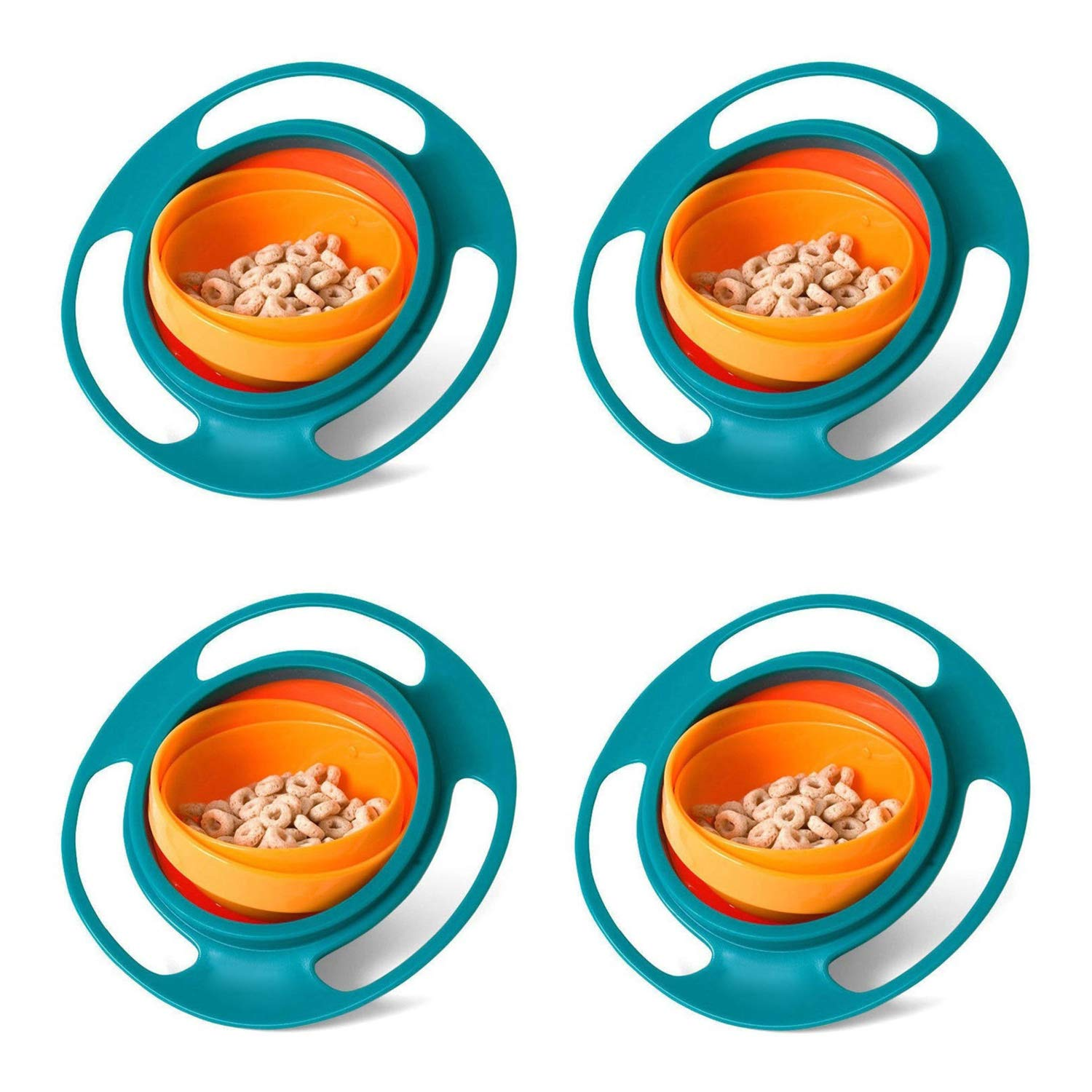 Universal Set of 4 Non-Spill 360° Children's Gyro Bowl - Colourful Fun Feeding Bowl with Smooth 360° Gyroscopic Rotation - Suitable for Babies, Toddlers and Infants.