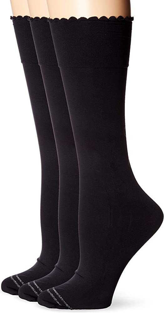 HUE Womens Graduated Compression Knee Hi Socks 3 Pair Pack Assorted