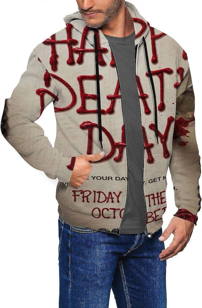 Happy DEA-th Day Mens Full-Zip Long-Sleeve Hooded Sweatshirt with Pocket,