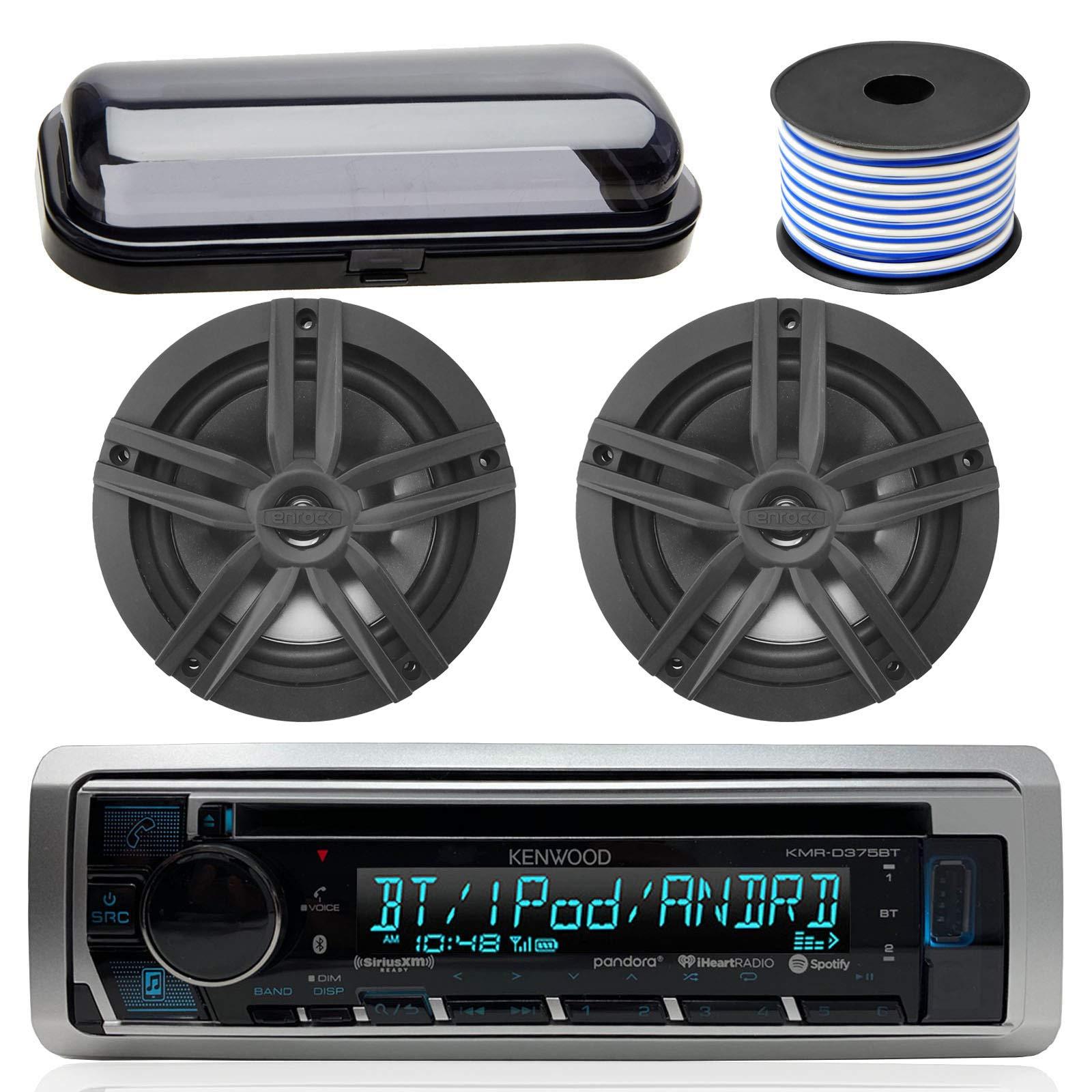 Kenwood Bluetooth CD Radio Receiver In-Dash Marine Boat Audio Bundle with Pair of Enrock 6.5'' Dual-Cone Stereo Speakers, Stereo Waterproof Cover, 18g 50ft Speaker Wire (Black / Chrome) by Enrock Kenwood Pyle