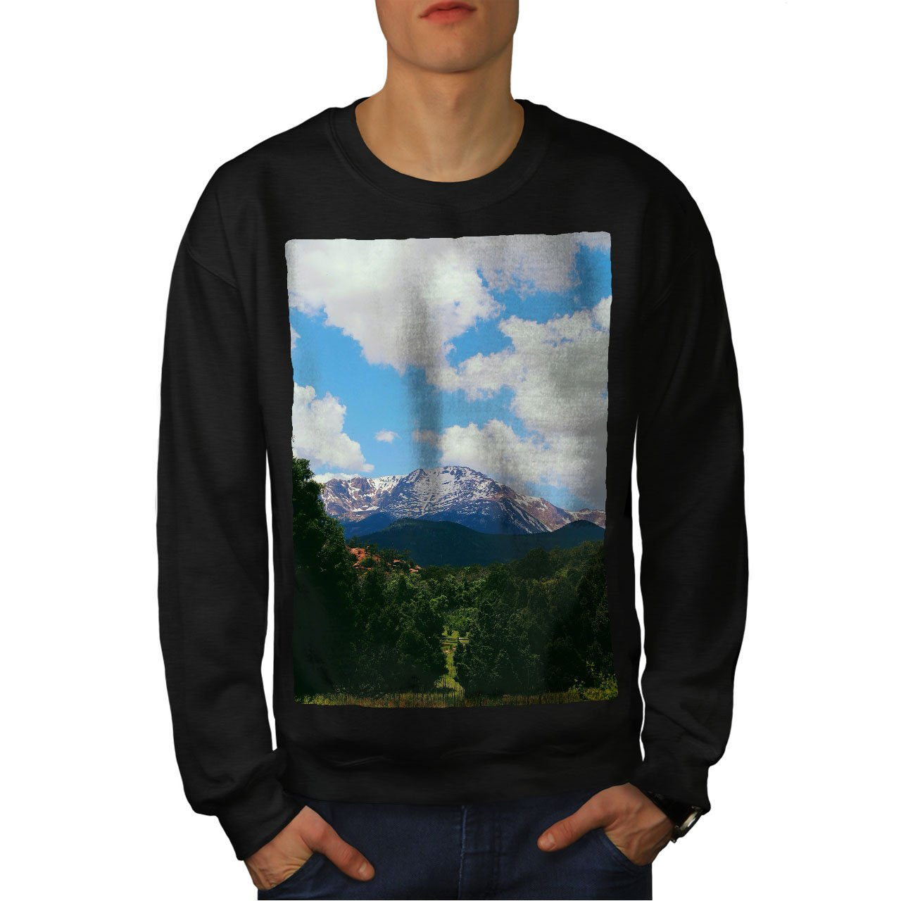 Nature Casual Jumper wellcoda Nature Mountain Cloud Mens Sweatshirt