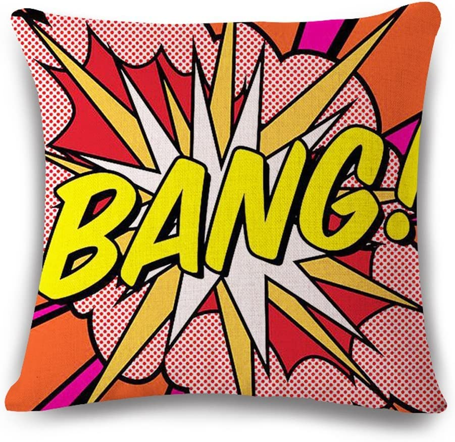 Easternproject Super Hero Throw Pillow Case Cushion Cover Comic Book Exclamation Pattern Decorative Square 18x18 Inch Pillowcase Best Gift (BANG 01)