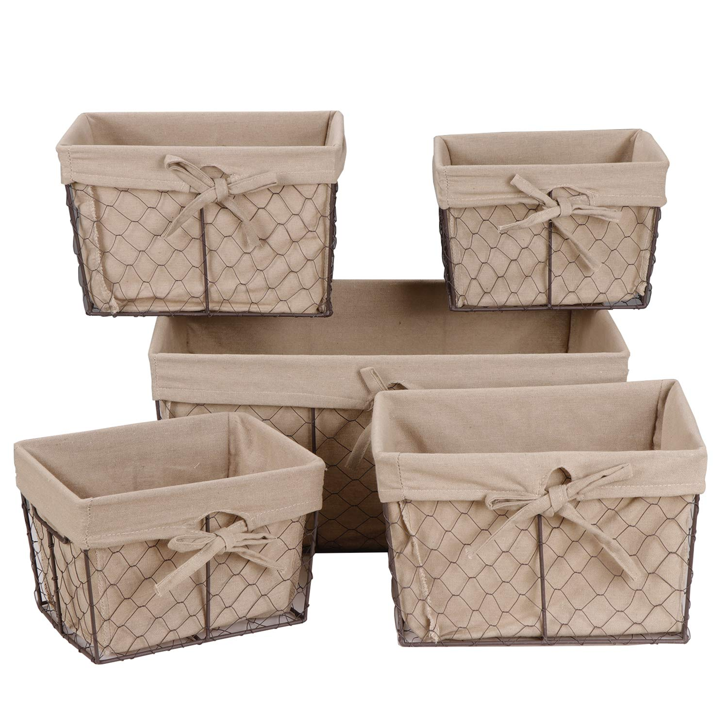 F2C Home Decor Set of 5 Vintage Fruit Toy Clothes Metal Chicken Wire Storage Basket Organizer W/Removable Fabric Liner for Bathroom Kitchen Office Baby Nursery Bedroom Shelf