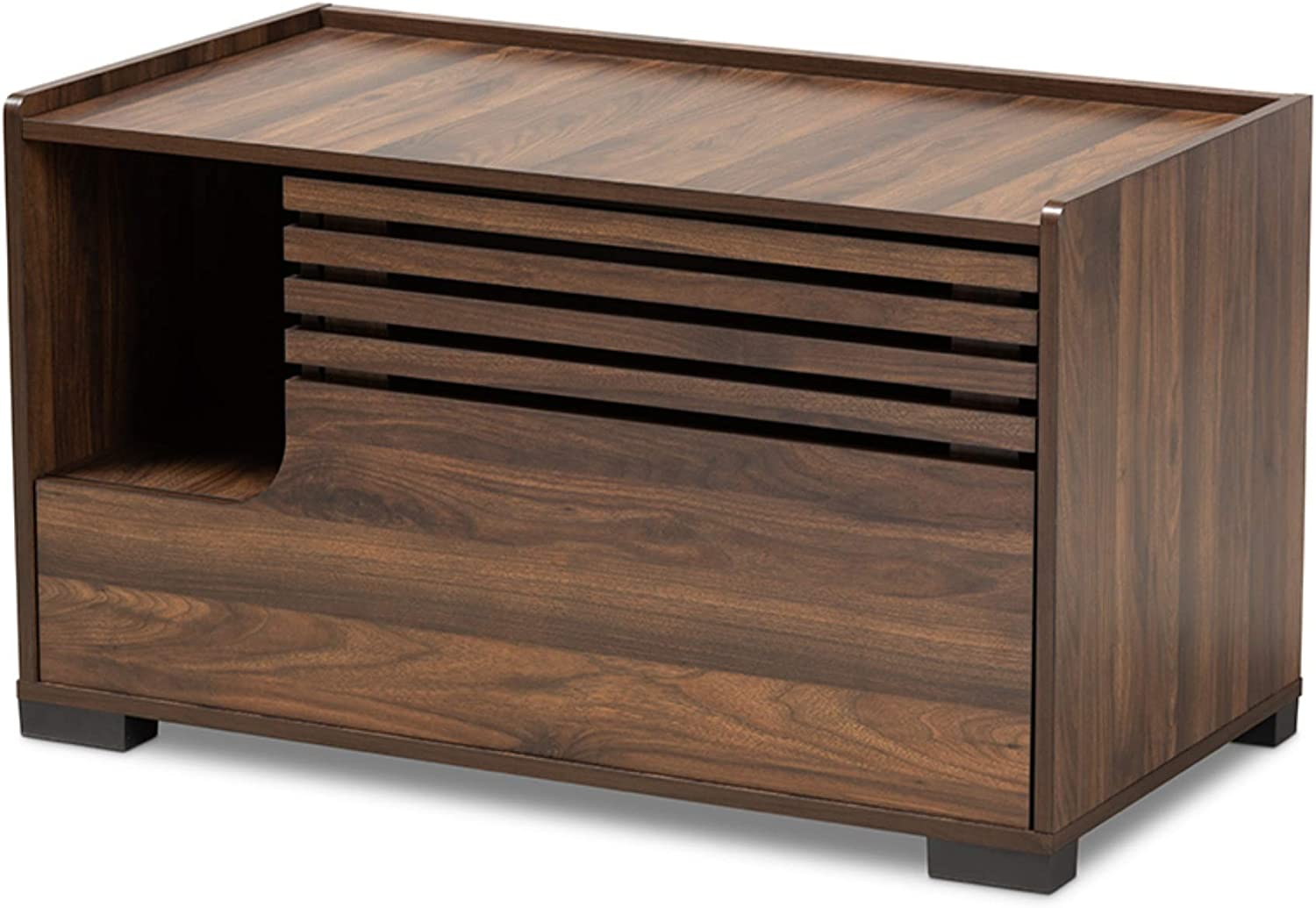 Baxton Studio Claire Modern and Contemporary Walnut Brown Finished Cat Litter Box Cover House