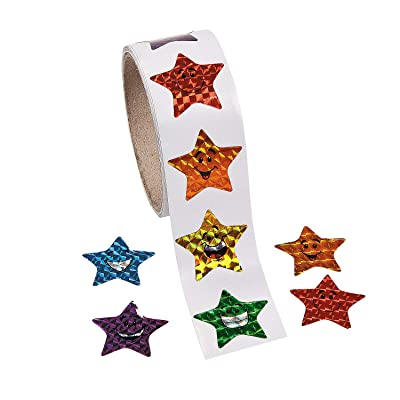 Fun Express - Prism Smiling Stars Stickers (100pc) - Stationery - Stickers - Stickers - Roll - 1 Piece: Toys & Games