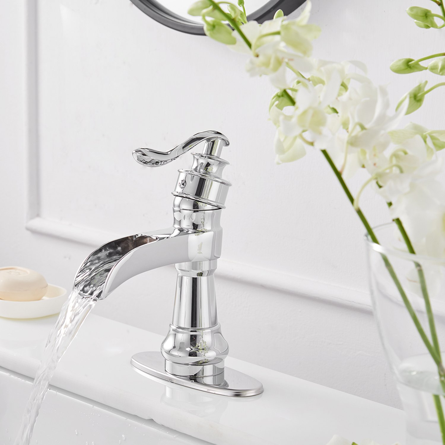 Greenspring ORB Waterfall Spout Single Handle Commercial One Hole Bathroom Sink Faucet Lavatory Deck Mount,Oil Rubbed Bronze