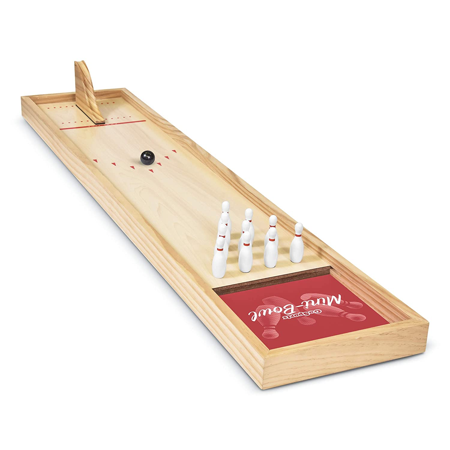 Premium Wooden Construction with Dry Erase Scorecard Perfect for Kids /& Adults GoSports Tabletop Mini Bowling Game Set