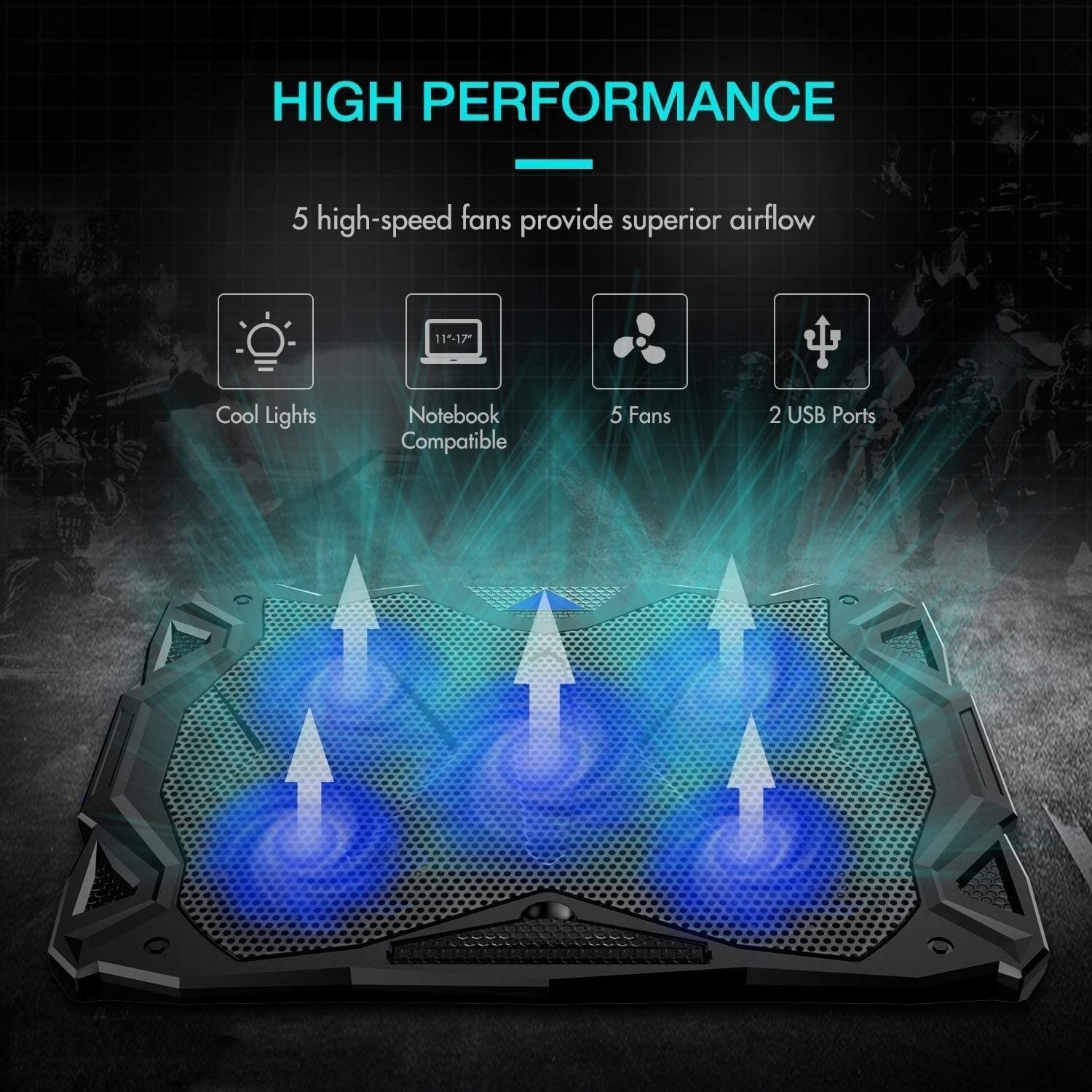 Notebook Cooler with 5 Quiet Fan Dual USB Port Color : Blue ROLLCHC Laptop Cooling Pad Gaming Laptop Cooler Portable Cooler Pad with LED Light Fit 12-17 Computer