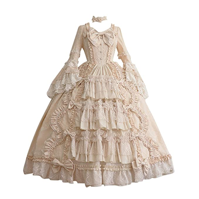 MoonHome Womens Court Medieval Dress Fashion Gothic Dress Long Sleeve Lace Dress Hem Retro Dress