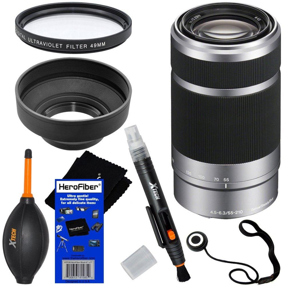 Sony E 55 – 210 mm F / 4.5 – 6.3 OSS e-mount望遠ズームレンズ – シルバー – インターナショナルバージョン保証( no ) for a3000 , a5000 , a6000 ,アルファα NEX、nex-3 N、NEX - 5 N、NEX - 5r、nex-5t、NEX - 6、NEX - 7 & NEX - f3デジタルカメラ、nex-vg30、nex-vg30h & nex-vg900交換可能なレンズビデオカメラ+ 6個バンドルアクセサリーキットW / HeroFiber Ultra Gentleクリーニングクロス   B00LI97CXA
