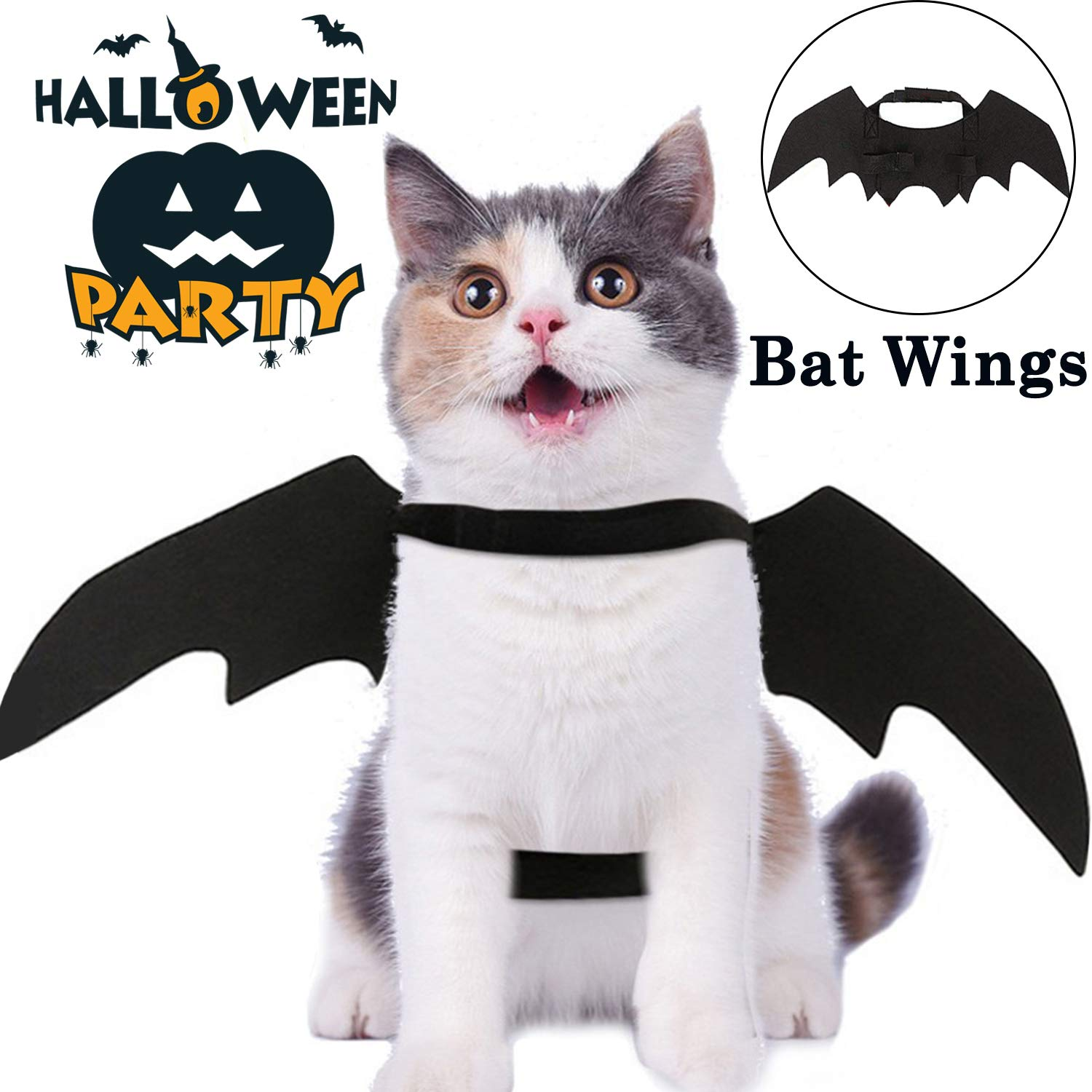 Halloween Costumes Pet Bat Wings for Cats Dogs Halloween Party Decorations Kitten Cosplay Toys Christmas Dress Up Puppy Small Medium Clothes Pet Bat Costume Black Vampire Wings Outfit Apparel Set CHARMCZ