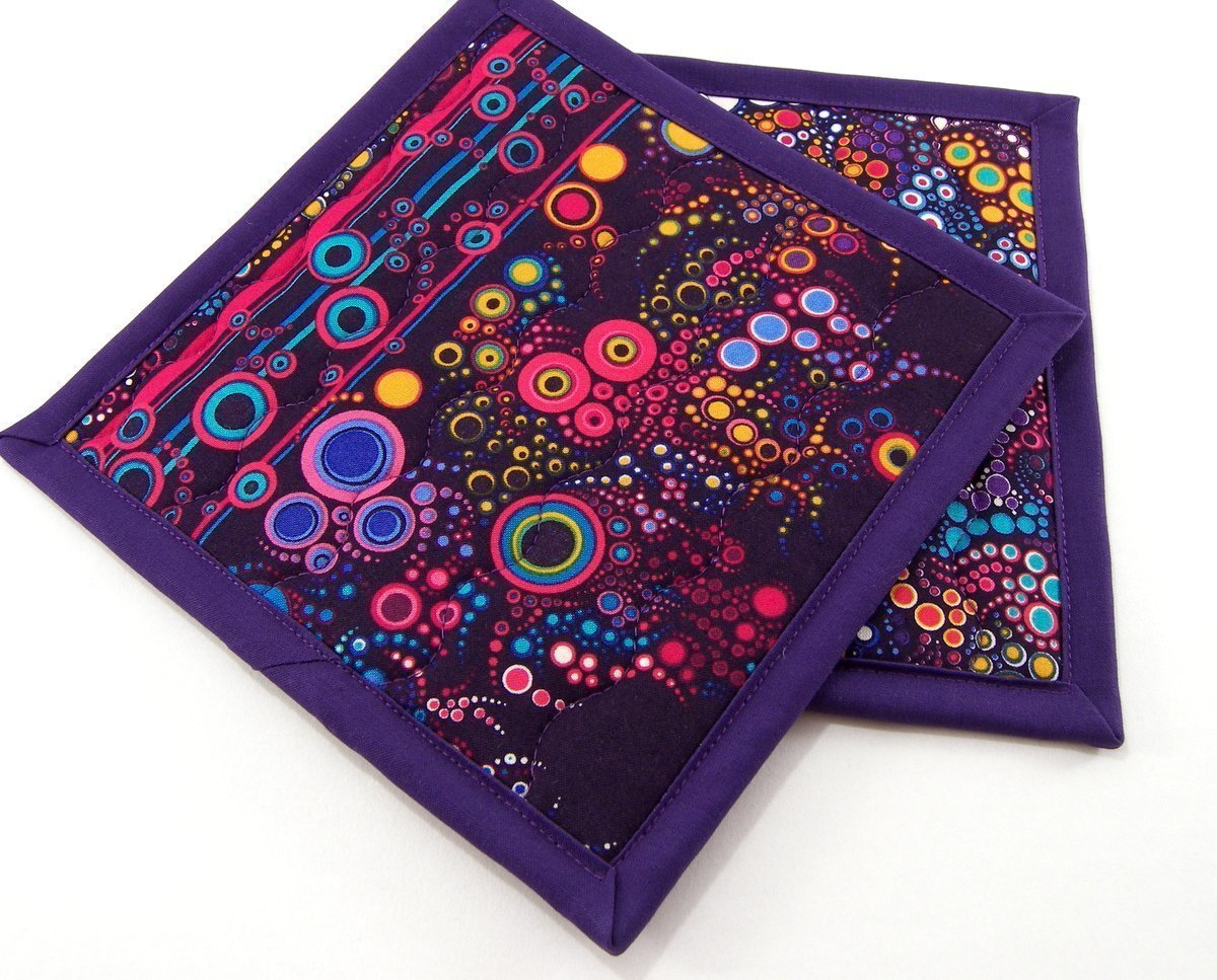 Colorful Cotton Potholders - Set of Two 8 Inch Hot Pads - Purple Pot Holders