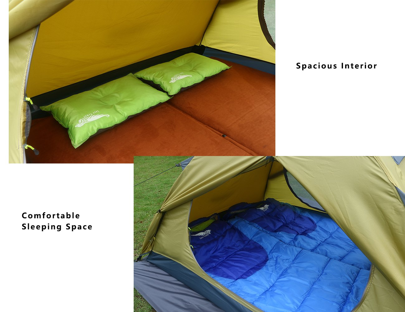 Luxe Tempo Enhanced 2 Person Tents for Camping 3-4 Season Backpacking Tents with Free Hammock 2 Doors 2 Vestibules