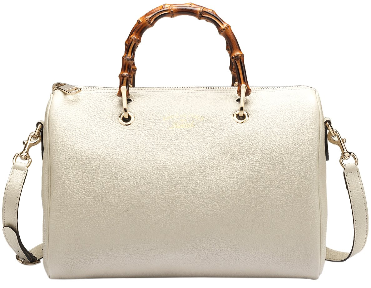 Gucci White Bamboo Shopper Leather Tote Bag