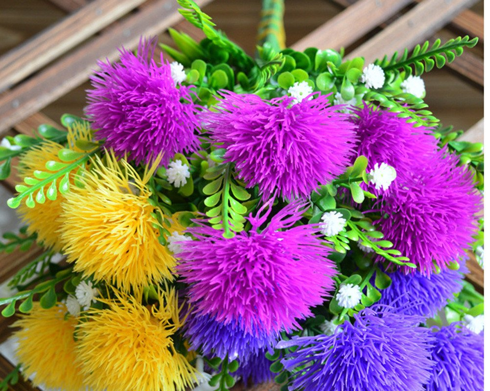 Lopkey 2 Pcs Artificial Plastic Dandelion Flowers Silk Wedding//Home//Outdoor Flower Decoration yellow