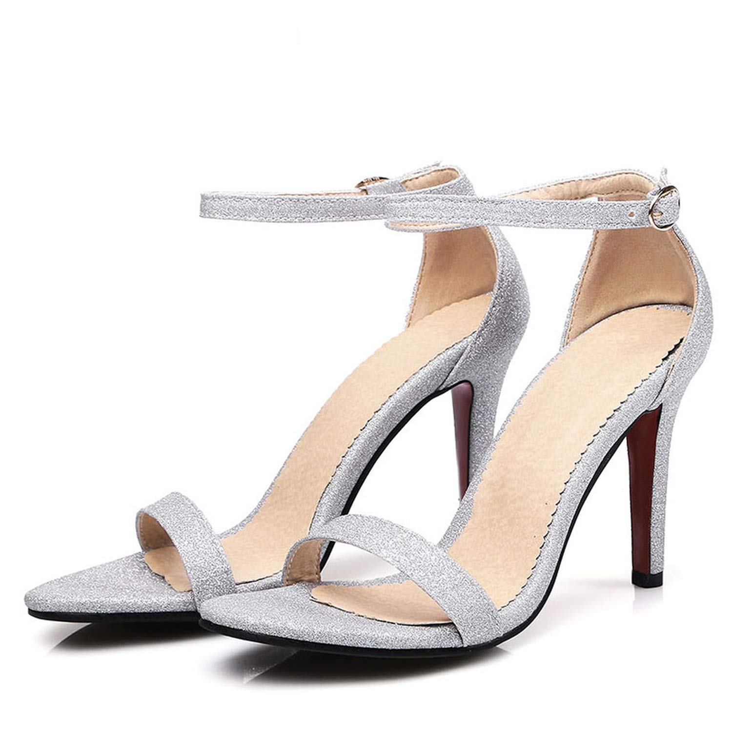 Silver Summer Ankle Strap Sandals shoes Ladies Party Nightclub Sexy Open Toe shoes