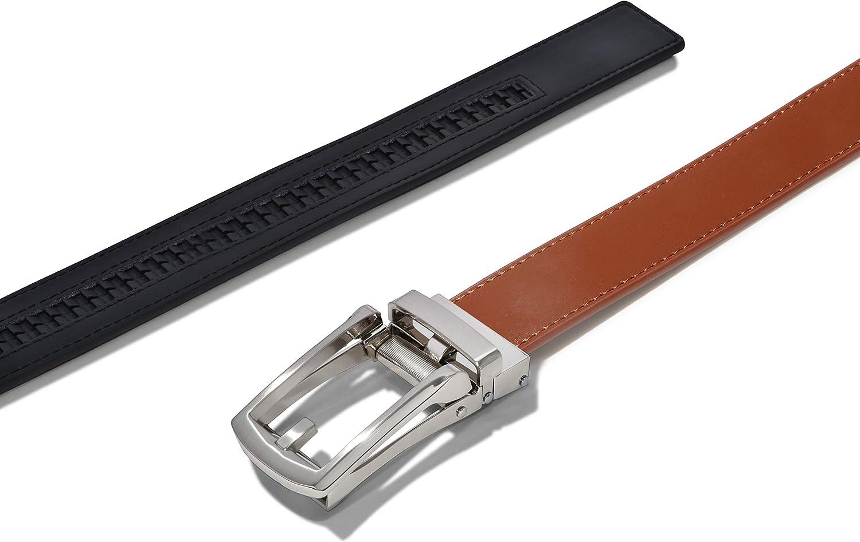 Automatic Belt Buckle No Holes Men/'s Ratchet Dress leather Belt Custom Fit