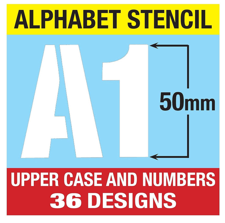 Grande alfabeto numeri 5 cm altezza maiuscole moderno su 6 fogli di 200 x 148 mm