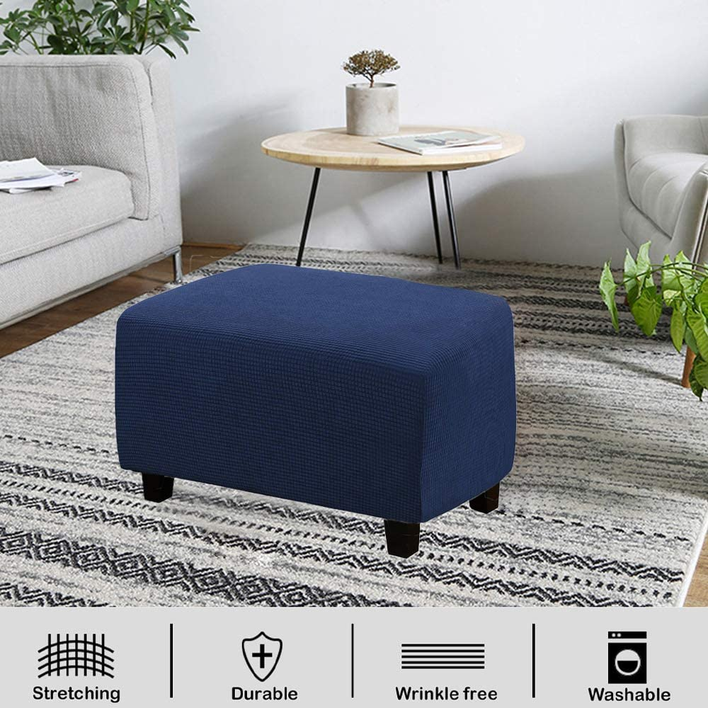VIENLOVE Rectangle Ottoman Slipcover Polyester Blend Footstool Protector Covers Stretch with Elastic Bottom Feature Textured Machine Washable Jacquard Fabric Beige, X-Large Size