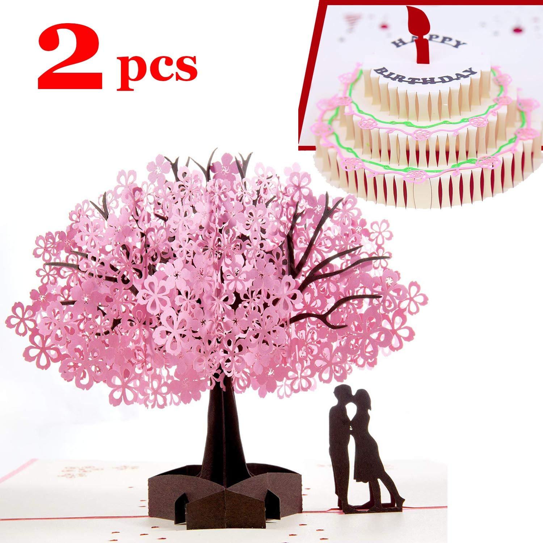 SLOSH 2 Biglietto dAuguri Matrimonio Carta 3D Pop-up dAmore per Compleanno Romantico e per la Festa della Mamma Anniversario Nozze Elegante Festa Viaggio Wedding