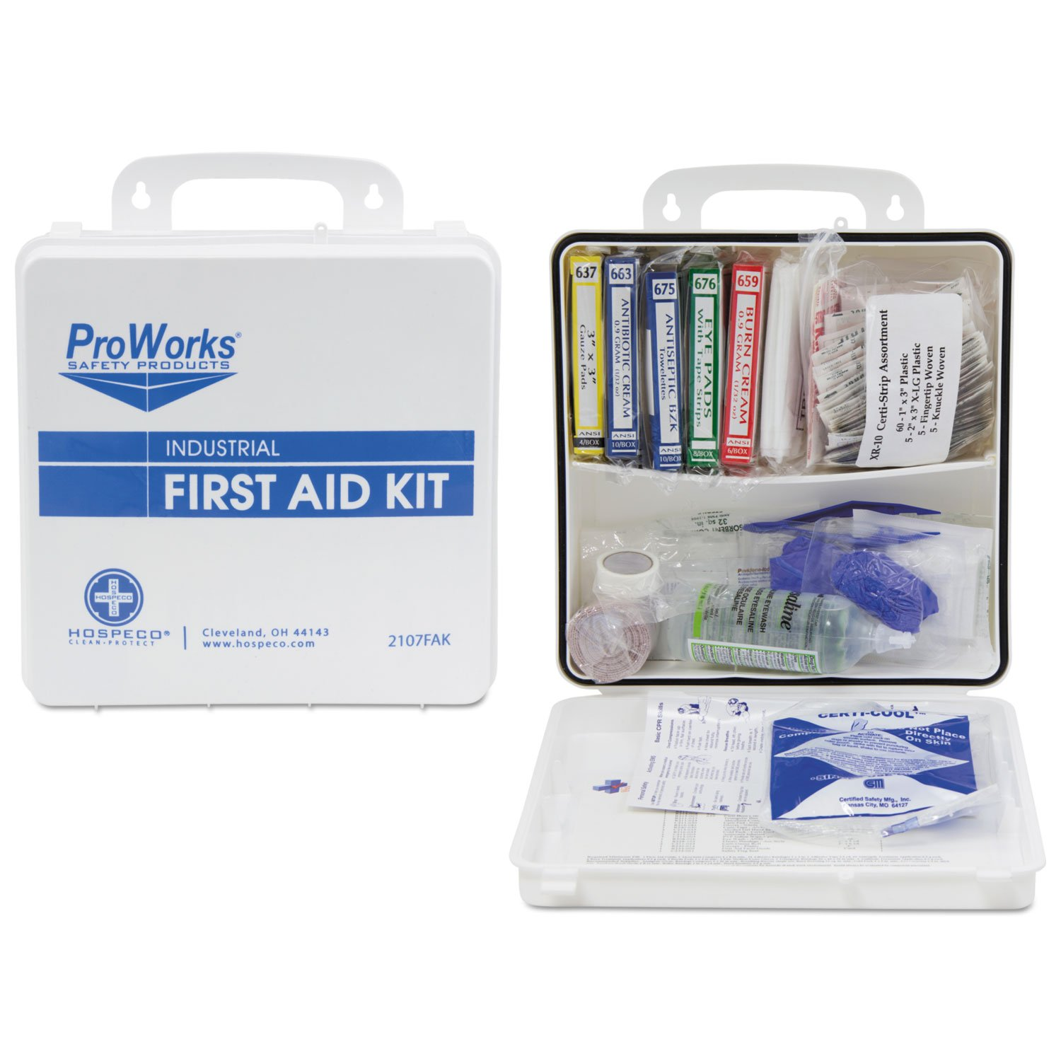 HOS2107 - Hospeco Health Gards First Aid Kit, 50 Person, 290 Pieces, 9 3/4 In X 14 In X 2 3/4 In