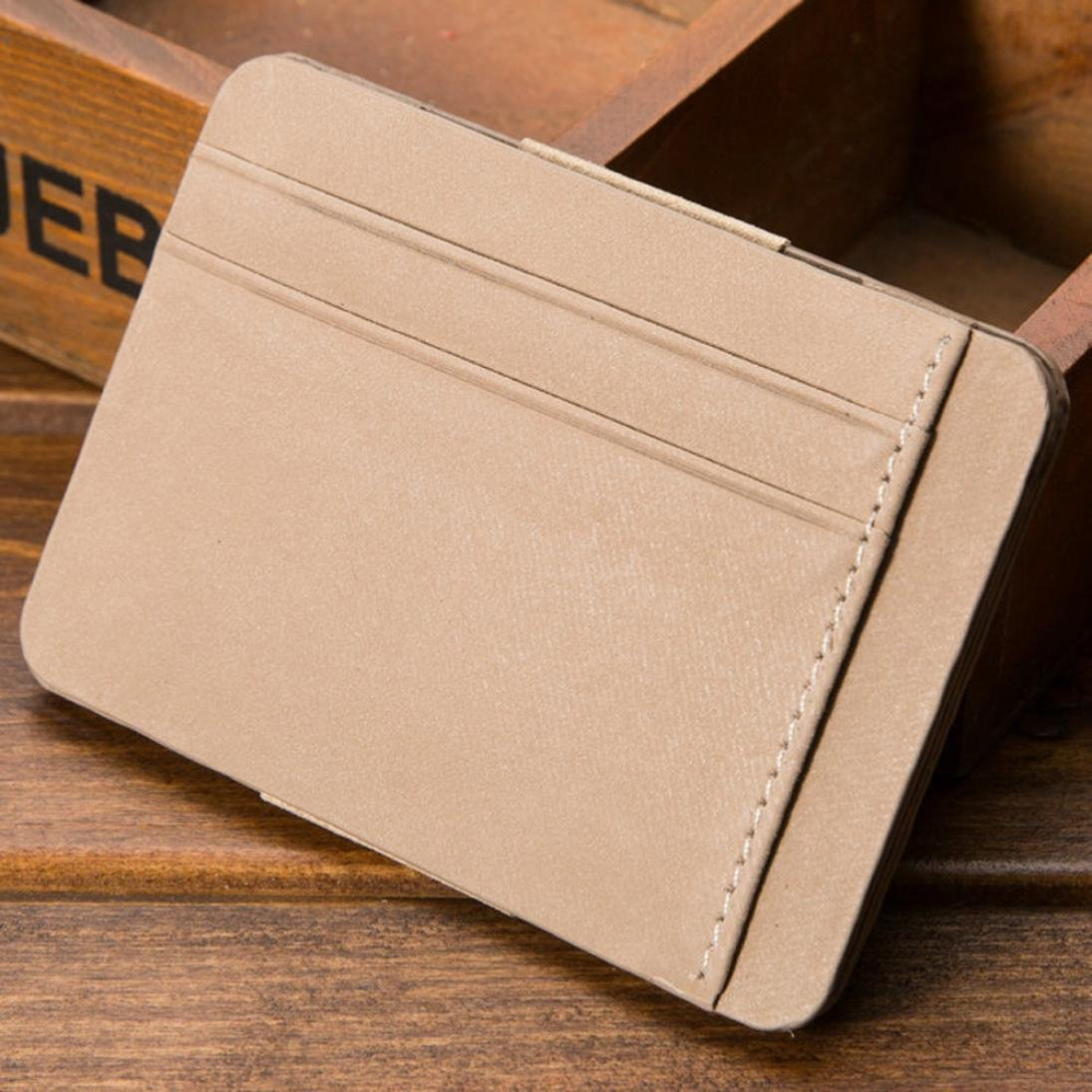 Pocciol Mens Bifold Business Wallet, Credit Card Pockets Leather Zipper ID Ultrathin (Beige) by Pocciol (Image #2)