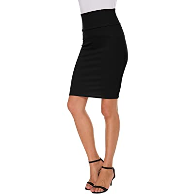 Afibi Pencil Skirts for Women High Waist Slim Stretch Bodycon Midi Business Skirts at Women's Clothing store