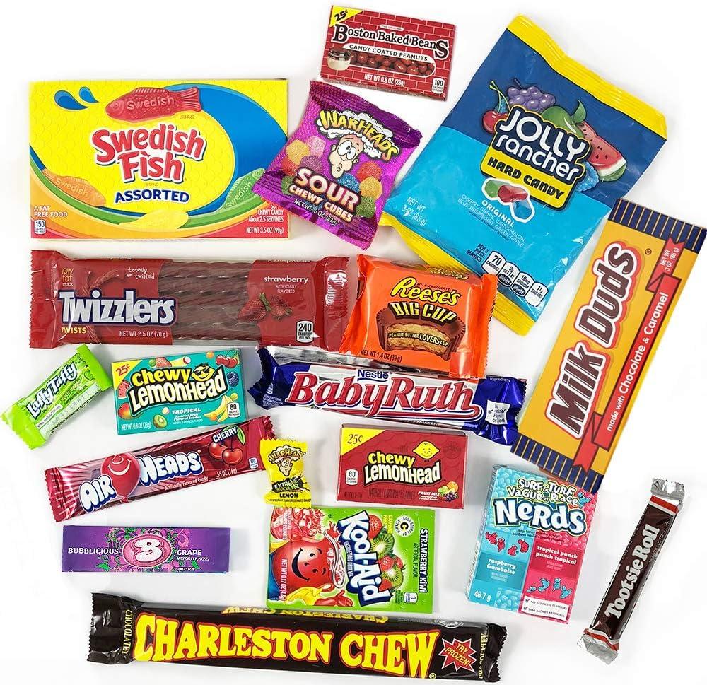 Cesta con American Candy | Caja de caramelos y Chucherias Americanas | Surtido de 18 artículos incluido Reeses, Baby Ruth, Nerds, Hersheys| Golosinas para Navidad Reyes o para regalo: Amazon.es: Alimentación y bebidas