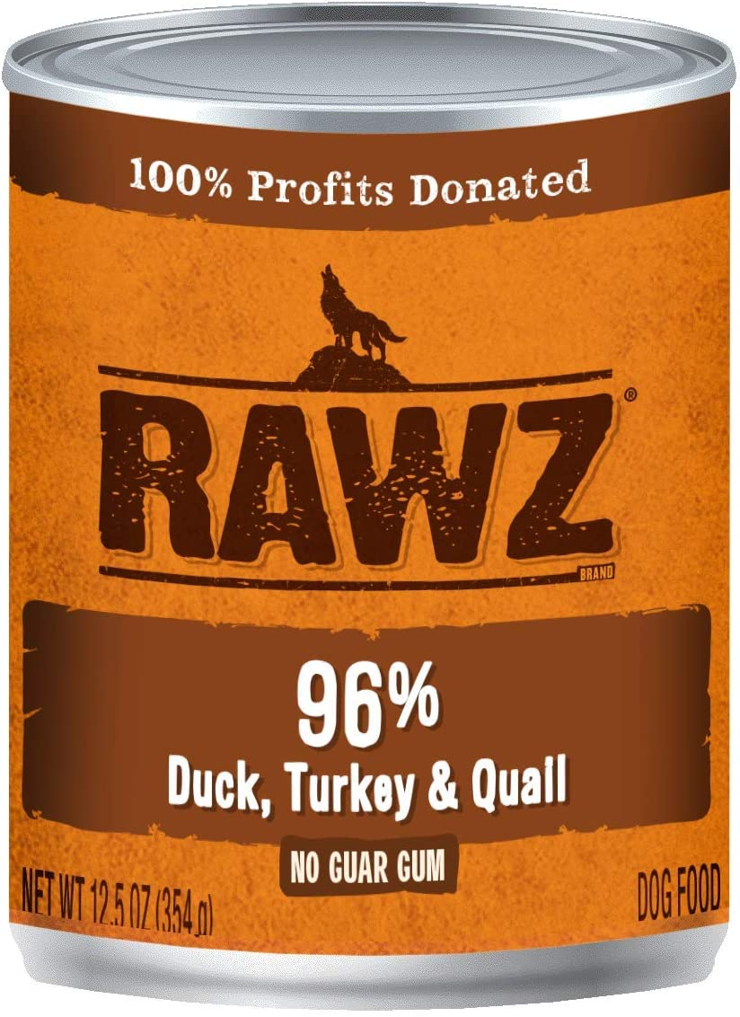Rawz 96% Duck, Turkey and Quail Canned Food for Dogs 12/12.5 oz Cans