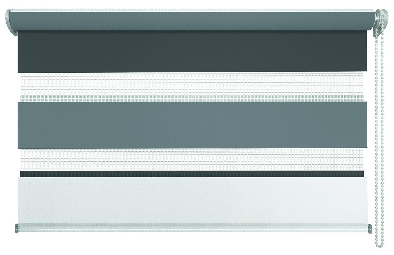 Mydeco® Duo-Rollo Fensterrollo Klemmfix ohne Bohren, Farbe Triple  Weiß, Grau, Anthrazit 120 x 160 cm Seitenzugrollo Doppelrollo inkl. Klemmträger