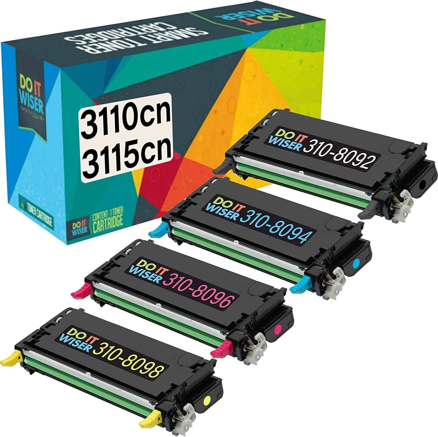 Do it Wiser Compatible Toner Cartridge Replacement for Dell 3110cn 3115cn 3110 3115 | 310-8092 310-8094 310-8096 310-8098 High Yield (8,000 Pages) 4-Pack