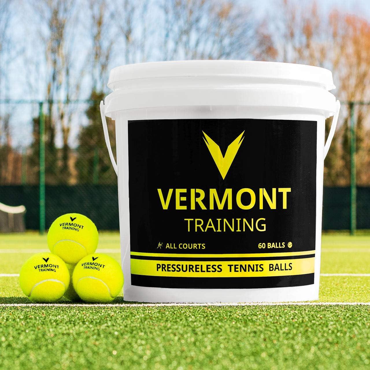 Vermont Pelotas de Tenis para Entrenamientos | Pelotas Sin Presión (Cubo de 60 Pelotas)