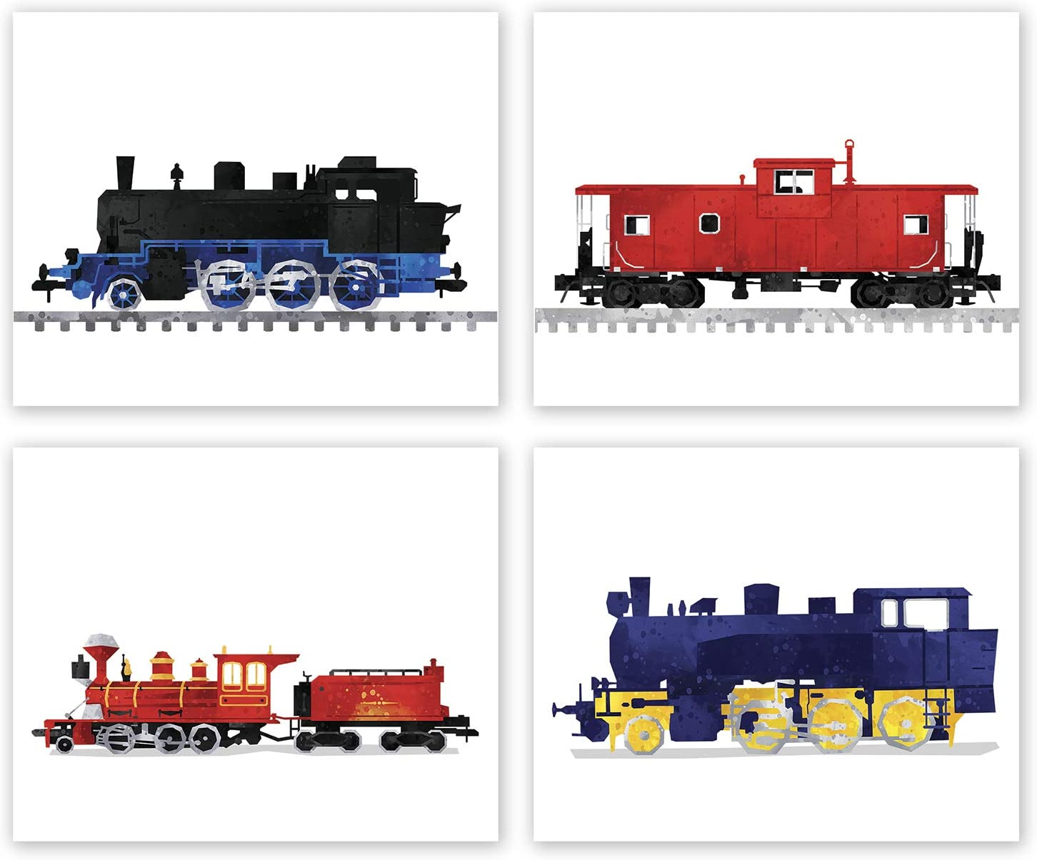Train Wall Art - Set of 4 Prints // Train Decor // Train Nursery Poster // Birthday Party Decoration // Transportation Art Pictures // Locomotive Steam Engine Prints for Boys Room (8x10, Set 4)