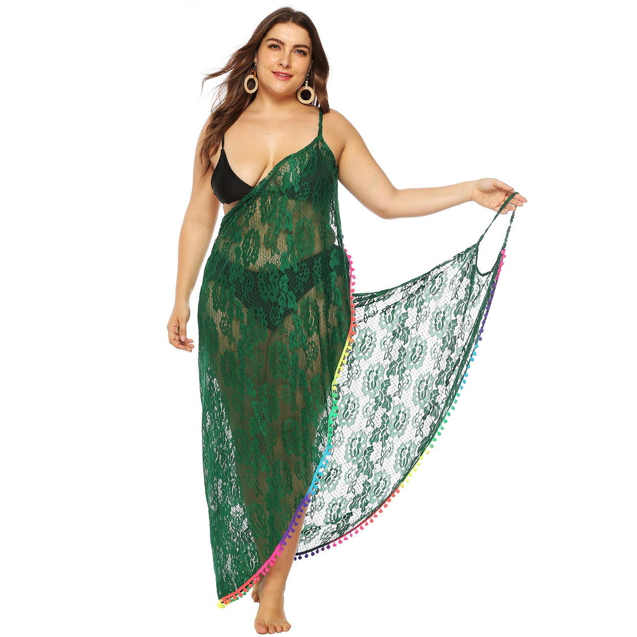 8f66d098d GERINLY Plus Size Sarong Dress Women Spaghetti Strap Kaftan Cover Up Sexy  Lace Backless Wrap (Green) at Amazon Women's Clothing store: