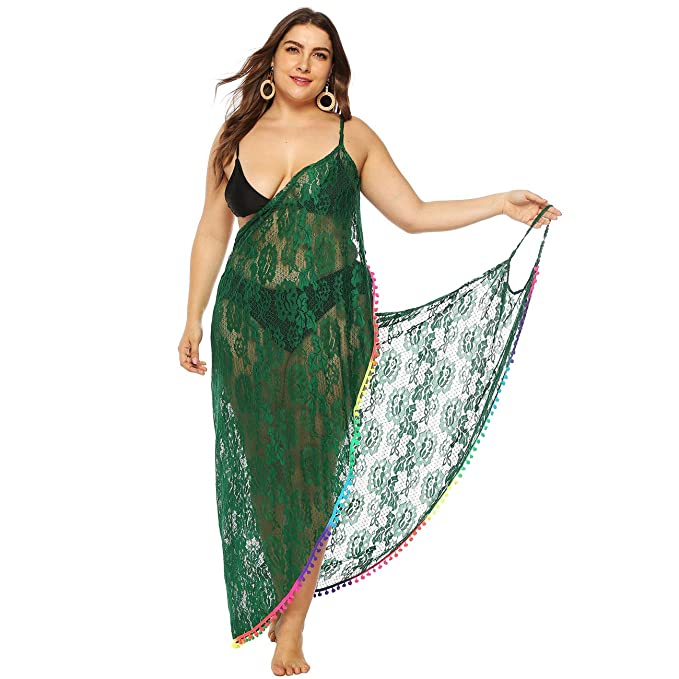 40842fe4c74df GERINLY Plus Size Sarong Dress Women Spaghetti Strap Kaftan Cover Up Sexy  Lace Backless Wrap (