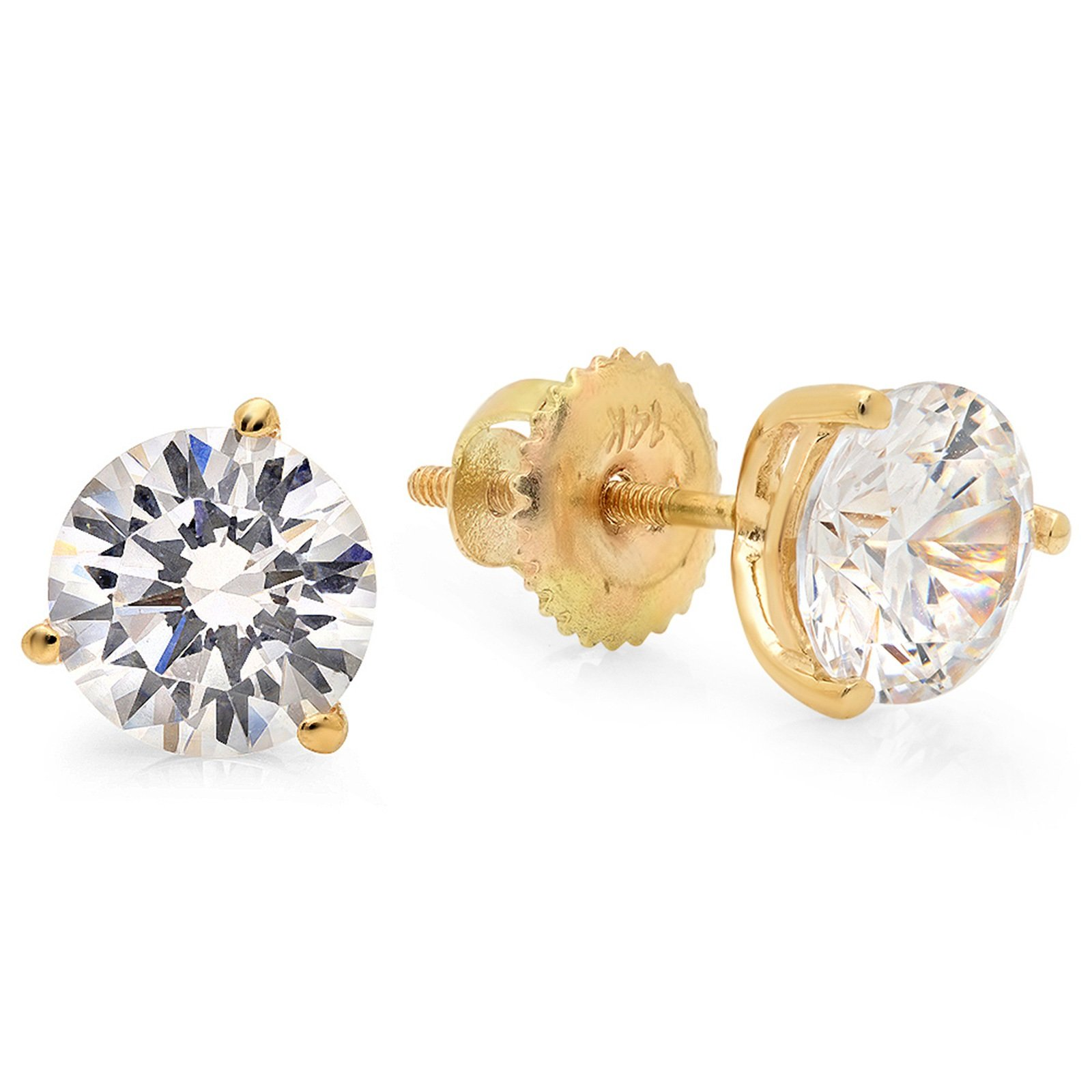 2.20 CT Round Cut Simulated Diamond Solitaire Martini Style Stud Earrings in 14k Yellow Gold Screw Back
