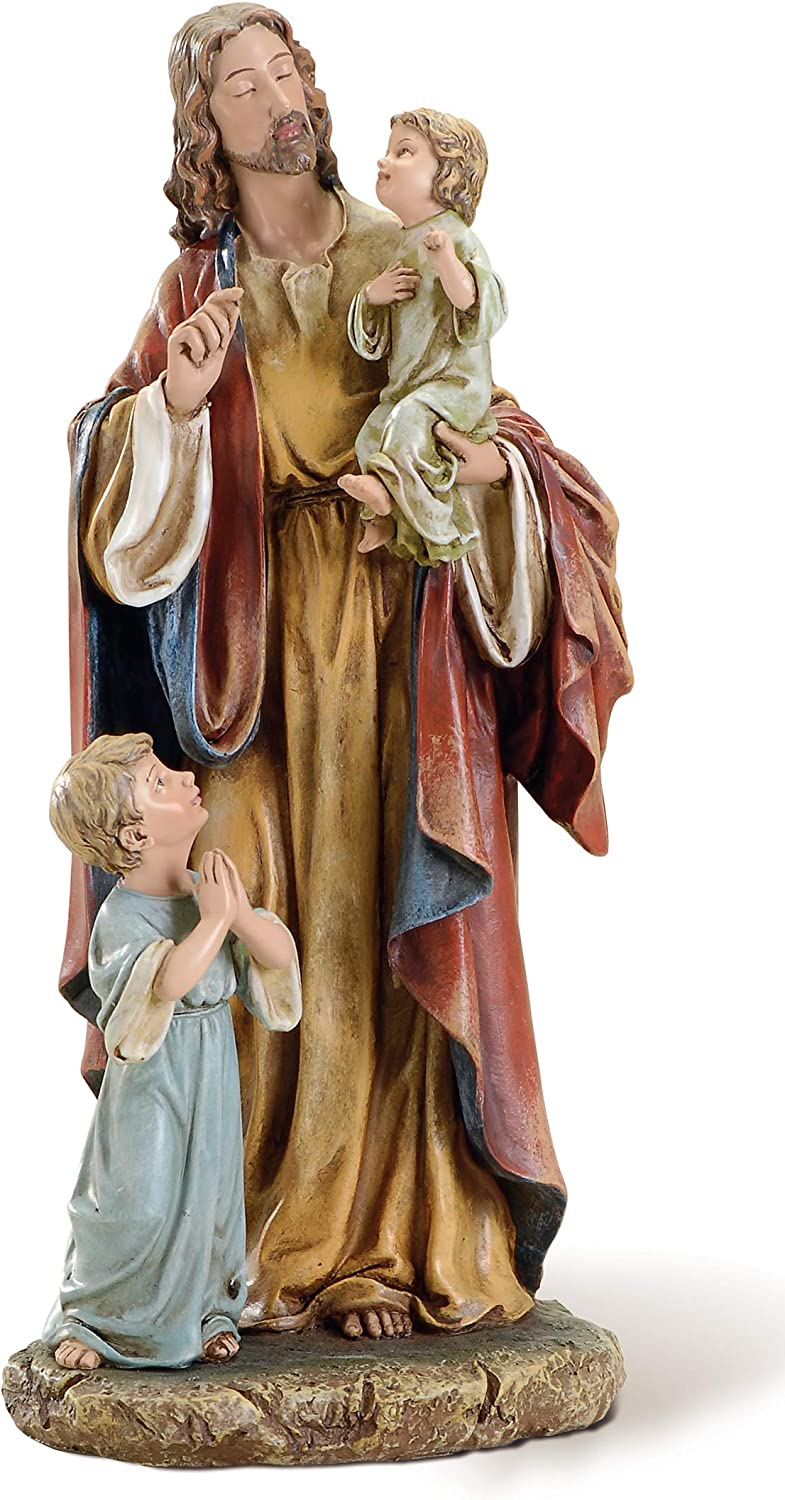 """Joseph's Studio by Roman - Jesus with Children Figure on Base, Life of Christ, Renaissance Collection, 10"""" H, Resin and Stone, Religious Gift, Decoration"""