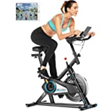 ANCHEER Stationary Exercise Bike, Indoor Cycling Bike Belt Drive with APP Connection, Adjustable Resistance, LCD Monitor, Pad