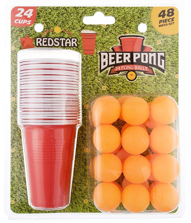 24 Vasos y 24 Pelotas Set de Beer Pong de 48 Piezas Redstar Fancy Dress
